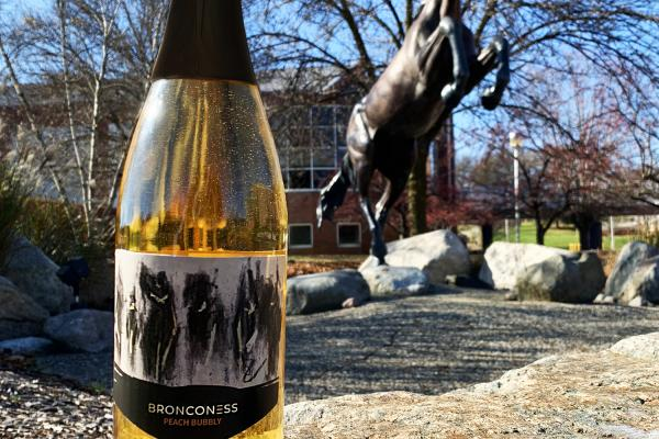 Bronconess Peach Wine in front of a Bronco Statue